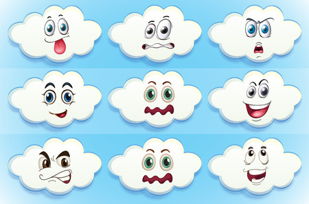 angry sky: Illustration of clouds with facial expressions Illustration
