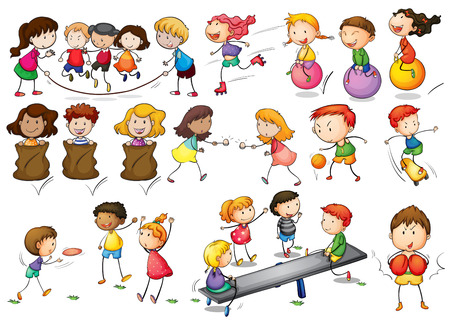 child girl: Illustration of children playing and doing activities