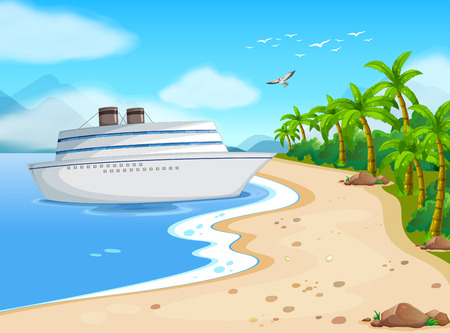 Illustration of a cruise porting on the shore Vector
