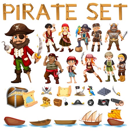 Illustration of a set of pirate and sails Stock Illustratie