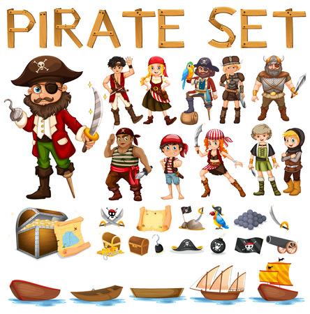 Illustratie van een set van piraten en zeilen
