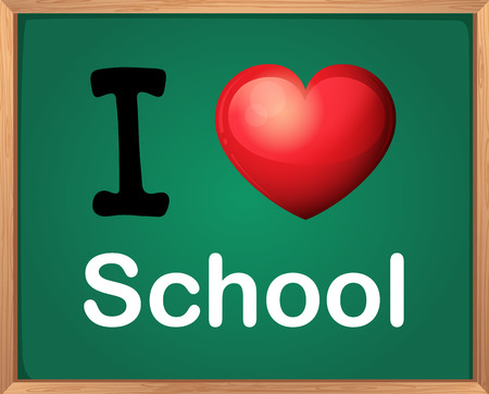 i like my school: Illustration of i love school sign