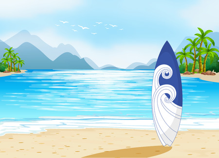 ocean view: Illustration of an ocean view with a surfboard