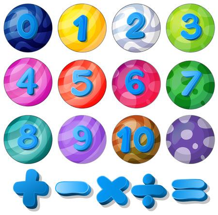numero uno: Ilustración de números del 0 al 10 y ecuaciones