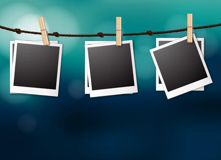 photgraphy: Illustration of photo frame hanging with blue background