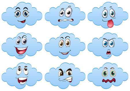 expresiones faciales: Ilustraci�n de nubes con las expresiones faciales