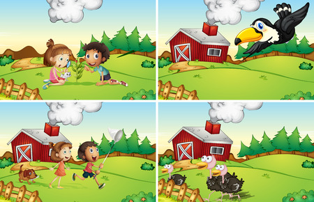 girl  child: Illustration of four scenes from the farm Illustration