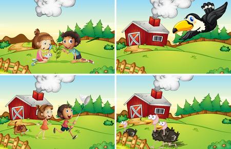 farm boys: Illustration of four scenes from the farm Illustration