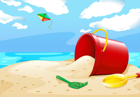 Illustration of toys on the beach