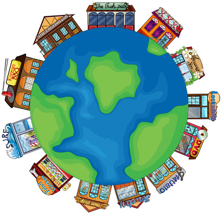 Illustration of many kind of shops on Earth Vector