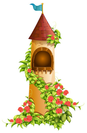 rose garden: Illustration of a single tower of a castle
