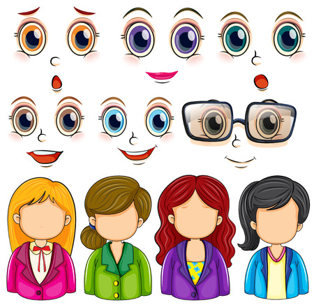 Illustration of woman faces and expressions Vector