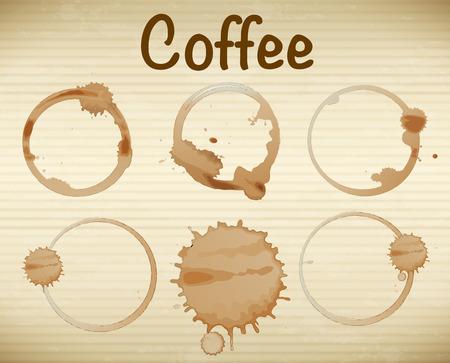 manchas de cafe: Ilustraci�n de seis manchas de caf� Vectores