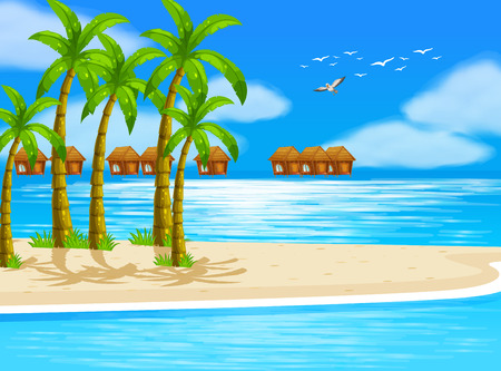 breeze: Illustration of beach view with bungalows Illustration