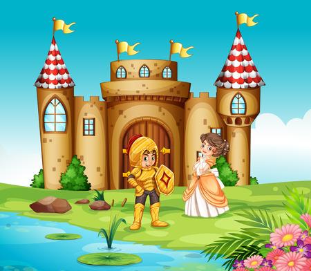 Illustratie van een kasteel en een ridder