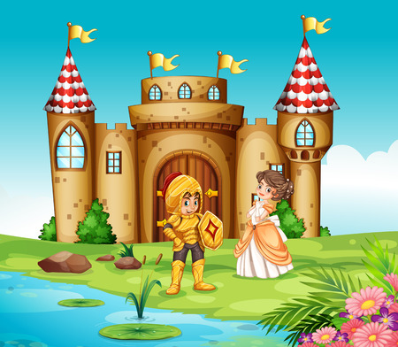 princess castle: Illustration of a castle and a knight Illustration