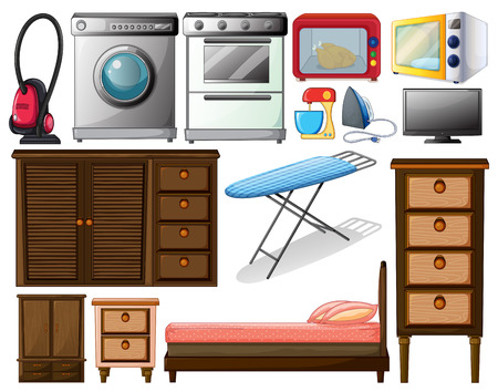 Illustration of many types of appliances Vector