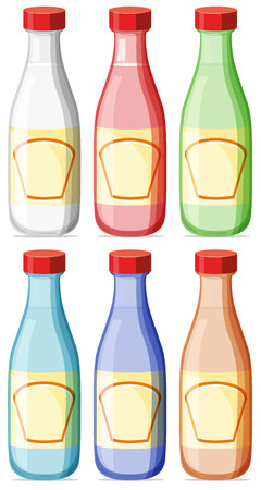 lable: Illustration of six bottles with lable Illustration