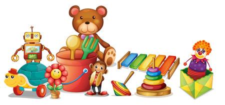 Illustratie van veel speelgoed op de vloer