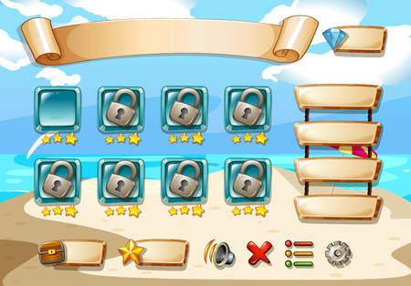 seawater: Illustration of a computer game with beach background Illustration