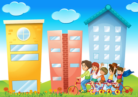 Illustration of a family riding a bike in the city Vector