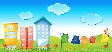 residental: Illustration of an urban scene on a sunny day