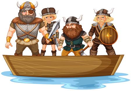 Illustration of many vikings on a boat