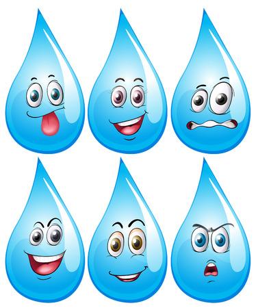 gezichts uitdrukkingen: Illustratie van water druppel met gezichtsuitdrukkingen