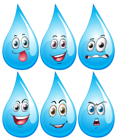 expresiones faciales: Ilustraci�n de la gota de agua con las expresiones faciales Vectores