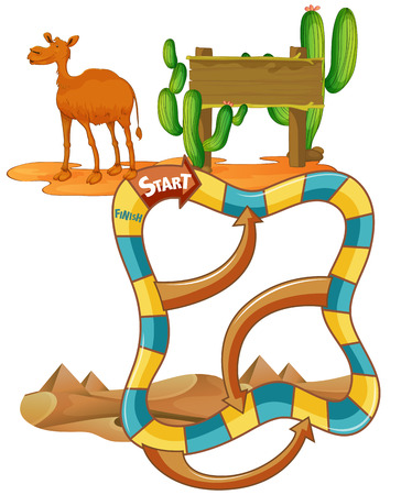 Illustration of a puzzle game with camel and cactus Vector