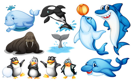 Illustration av många slags havslevande djur