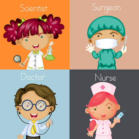 Illustration of four different occupations Vector