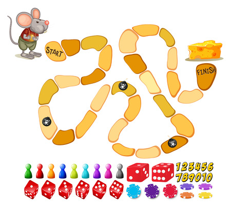 numbers: Illustration of a boardgame template with a mouse