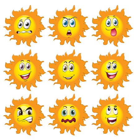 expresiones faciales: Ilustraci�n de un conjunto de sol con las expresiones faciales Vectores