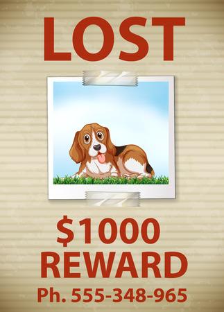 Illustratie van een verloren hond teken