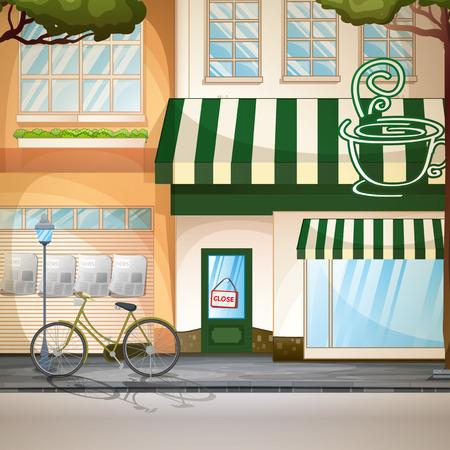 sidewalk cafe: Illustration of a coffee shop scene