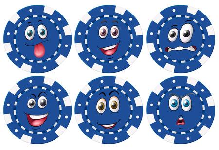 expresiones faciales: Ilustraci�n de fichas con las expresiones faciales Vectores