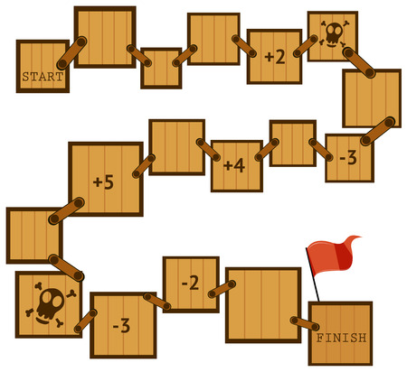 moves: Illustration of a boardgame template with wooden moves
