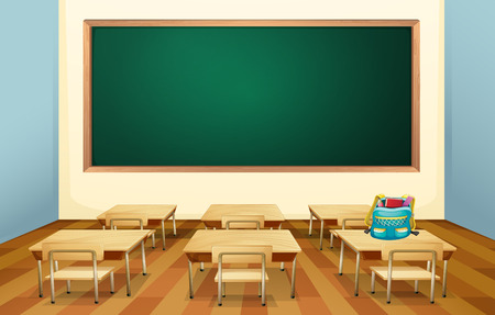 backpack school: Illustration of an empty classroom