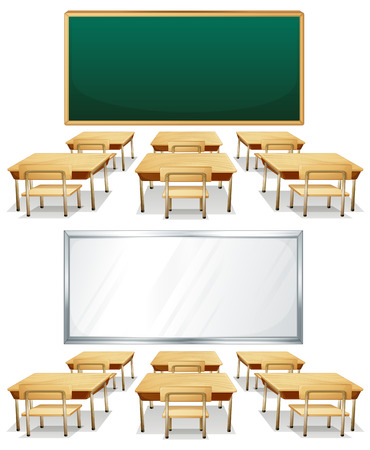studying classroom: Illustration of two classrooms with boards Illustration