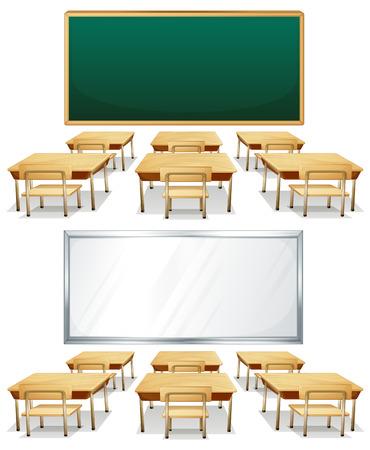 Ilustración de dos aulas con tablas