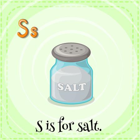 child s: Alphabet S is for salt Illustration