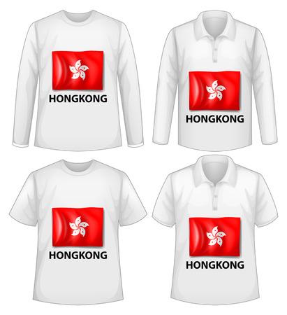 hongkong: Four design of shirt with Hongkong flag