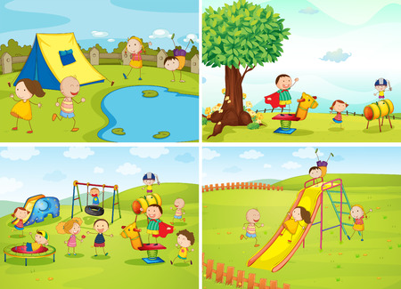 swing set: Children playing in the park
