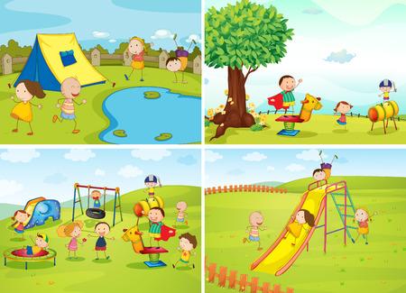 columpios: Los niños que juegan en el parque Vectores