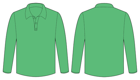 back view: front and back view of a green shirt