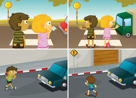 footpath: children crossing the road