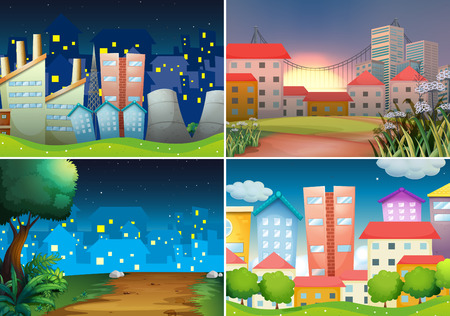 four scenes of city view at night Vector