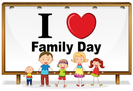 family picture: I love family day sign