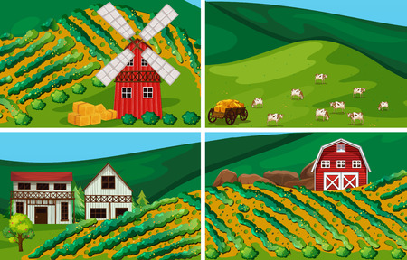 world agricultural: farmland with windmill and barn